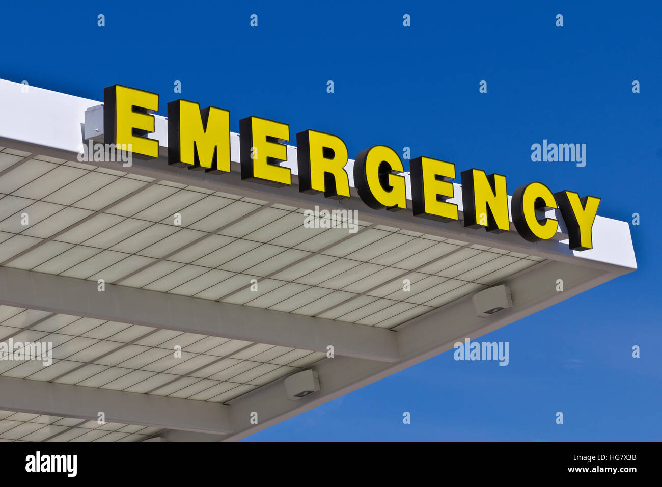 Yellow Emergency Entrance Sign for a Local Hospital VIII - Stock Image