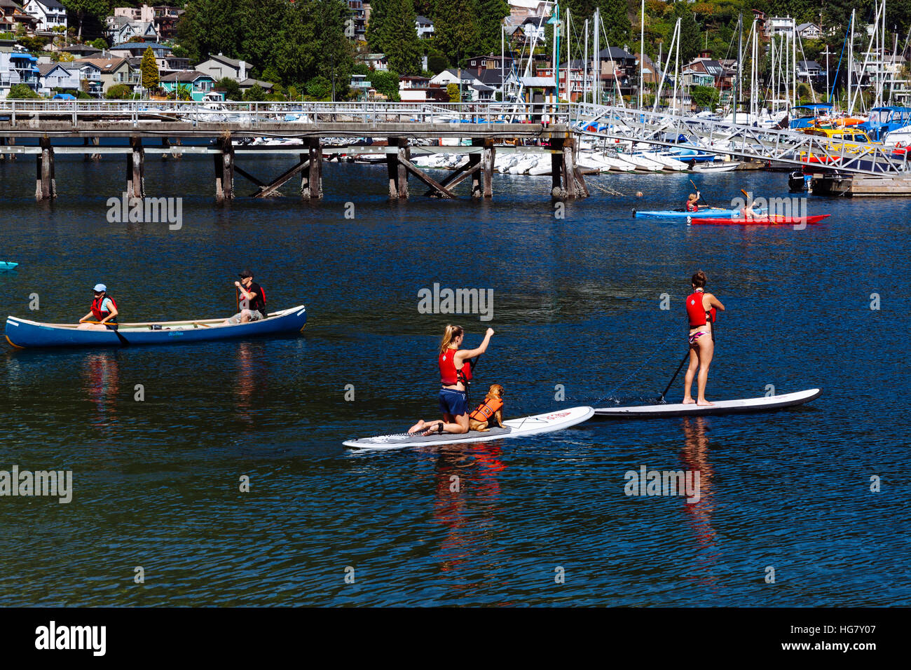 Water Activities On The Waters By Deep Cove Village Vancouver British Columbia Canada