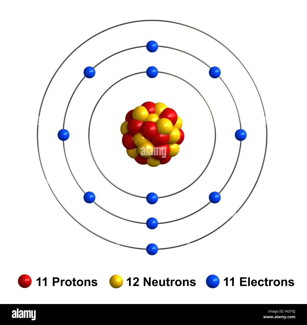 diagram for sodium 3d render of atom structure of sodium isolated over white ...