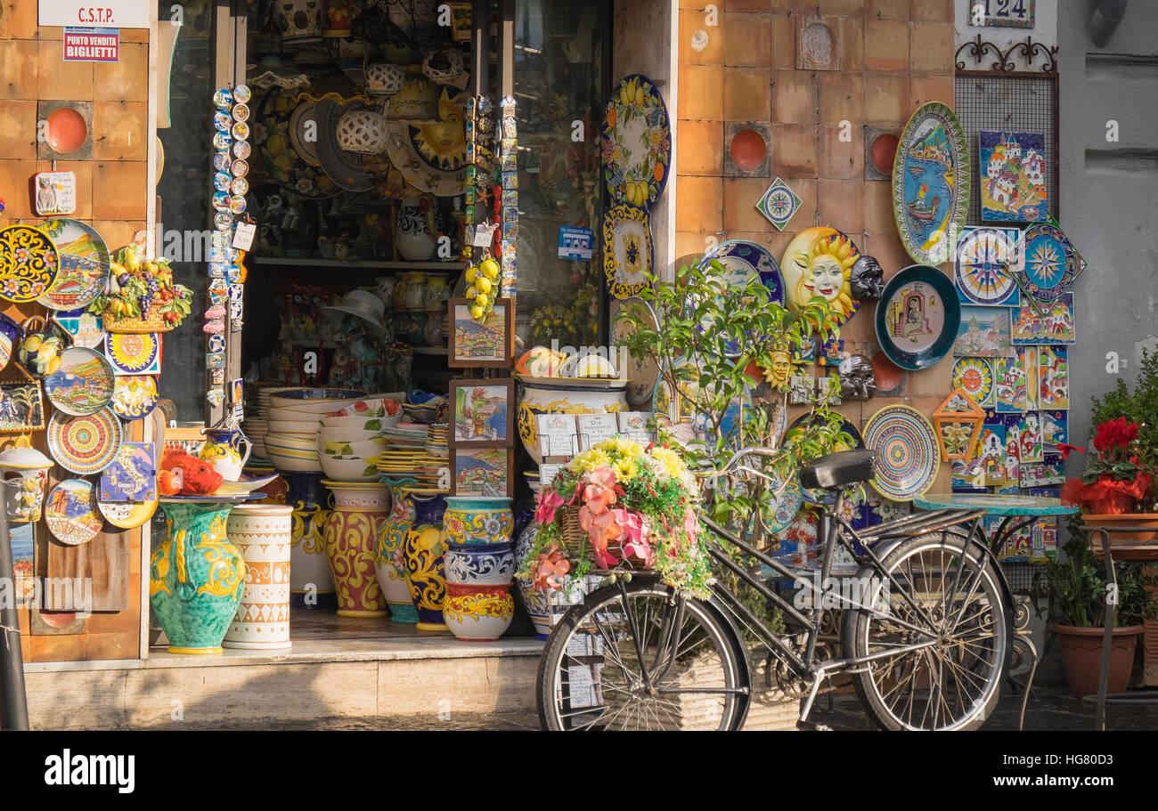 beautiful ceramics from the italian city of salerno, - Stock Image