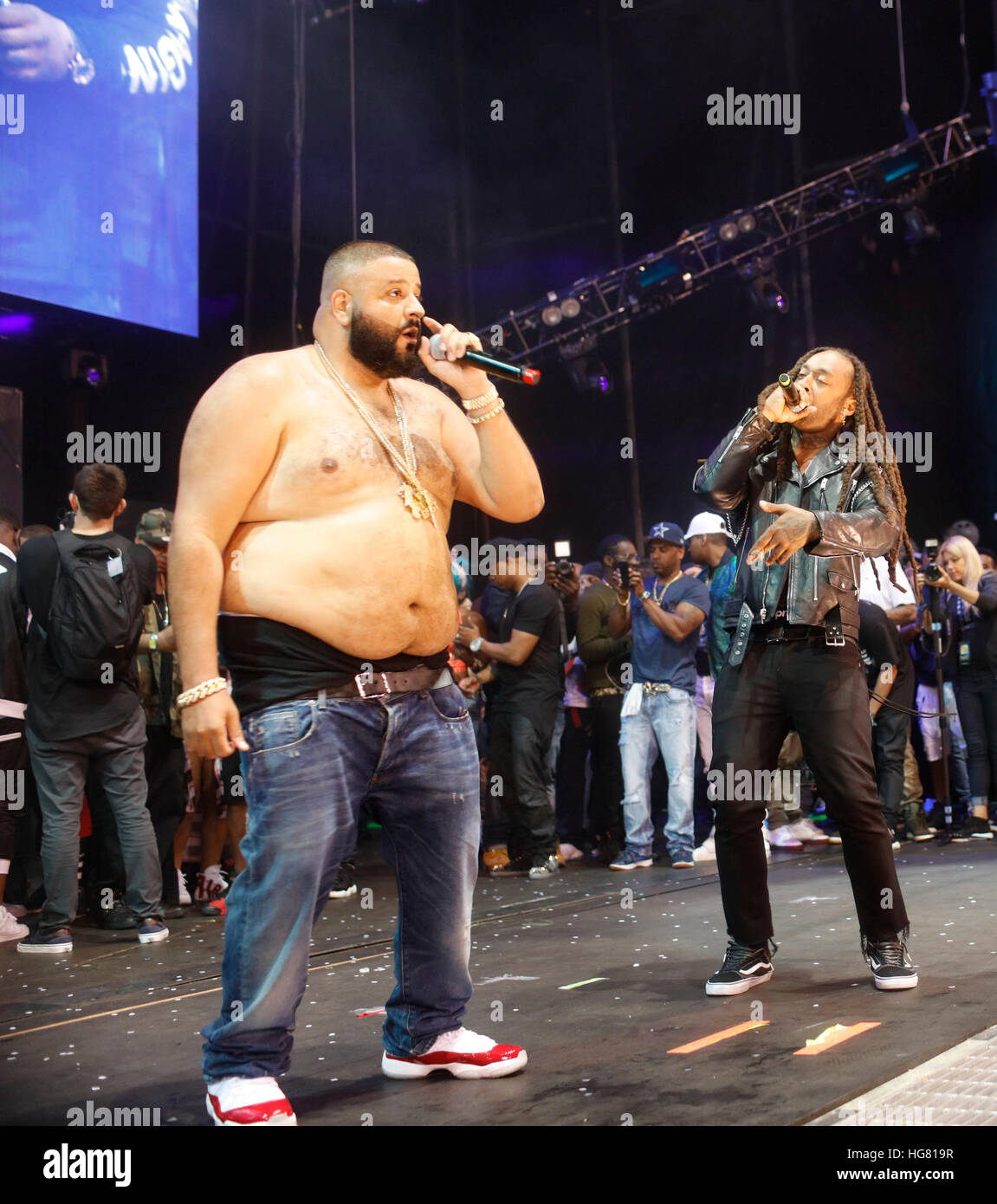 DJ Khaled and Ty Dolla Sign perform at Hot 97 Summer Jam 2016 at Metlife Stadium in East Rutherford, New Jersey. - Stock Image
