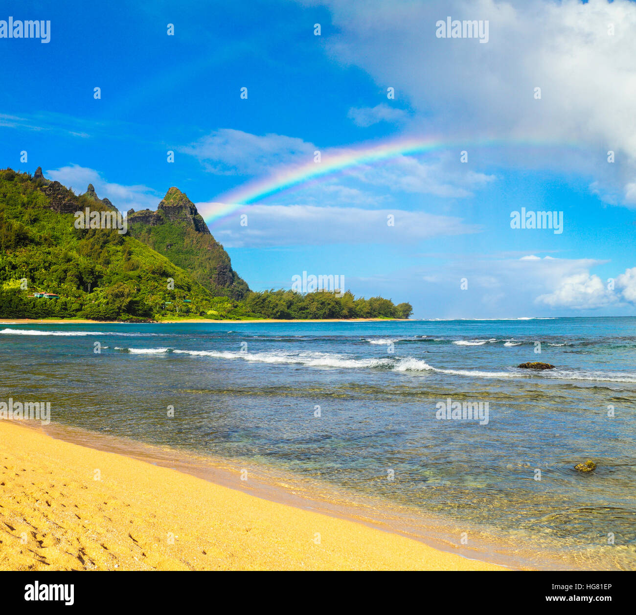 Double rainbows at Mt. Makana, called Bali Hai, in Haena, Kauai - Stock Image