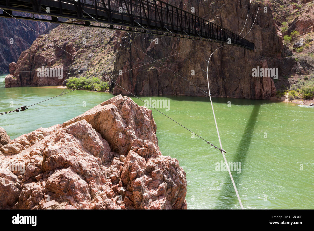 The Black Suspension Bridge along the Kaibab Trail system at the bottom of the Grand Canyon. Grand Canyon National - Stock Image