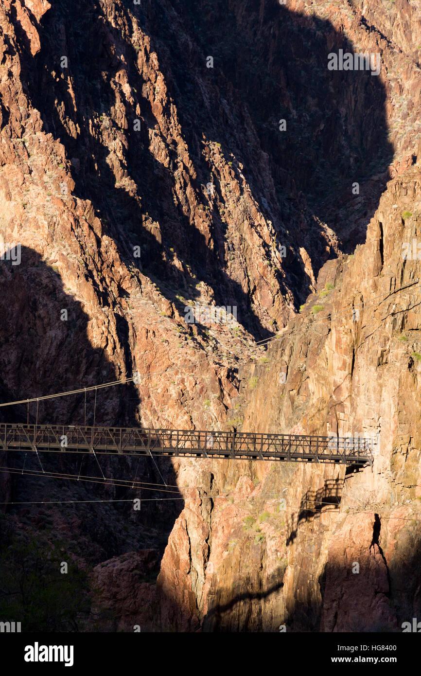 The Black Suspension Bridge in the Vishnu Basement Rocks of the Grand Canyon. Grand Canyon National Park, Arizona - Stock Image
