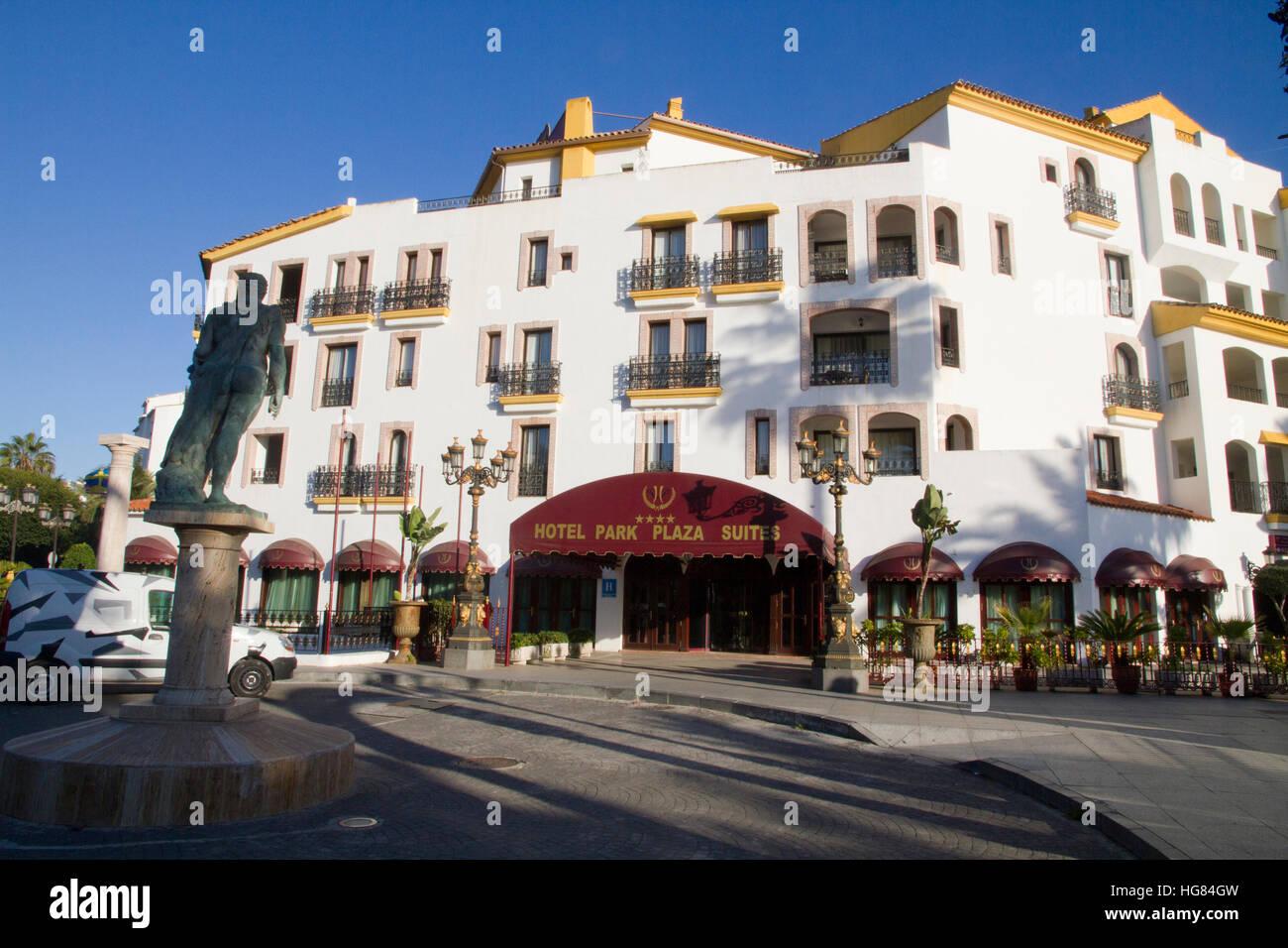 Hotel edifice facade Marbella, Costa del Sol, Andalucia, Spain - Stock Image