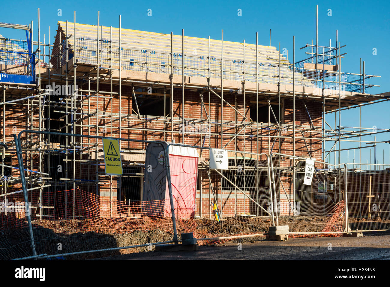 New houses being built in the UK. House building site. - Stock Image