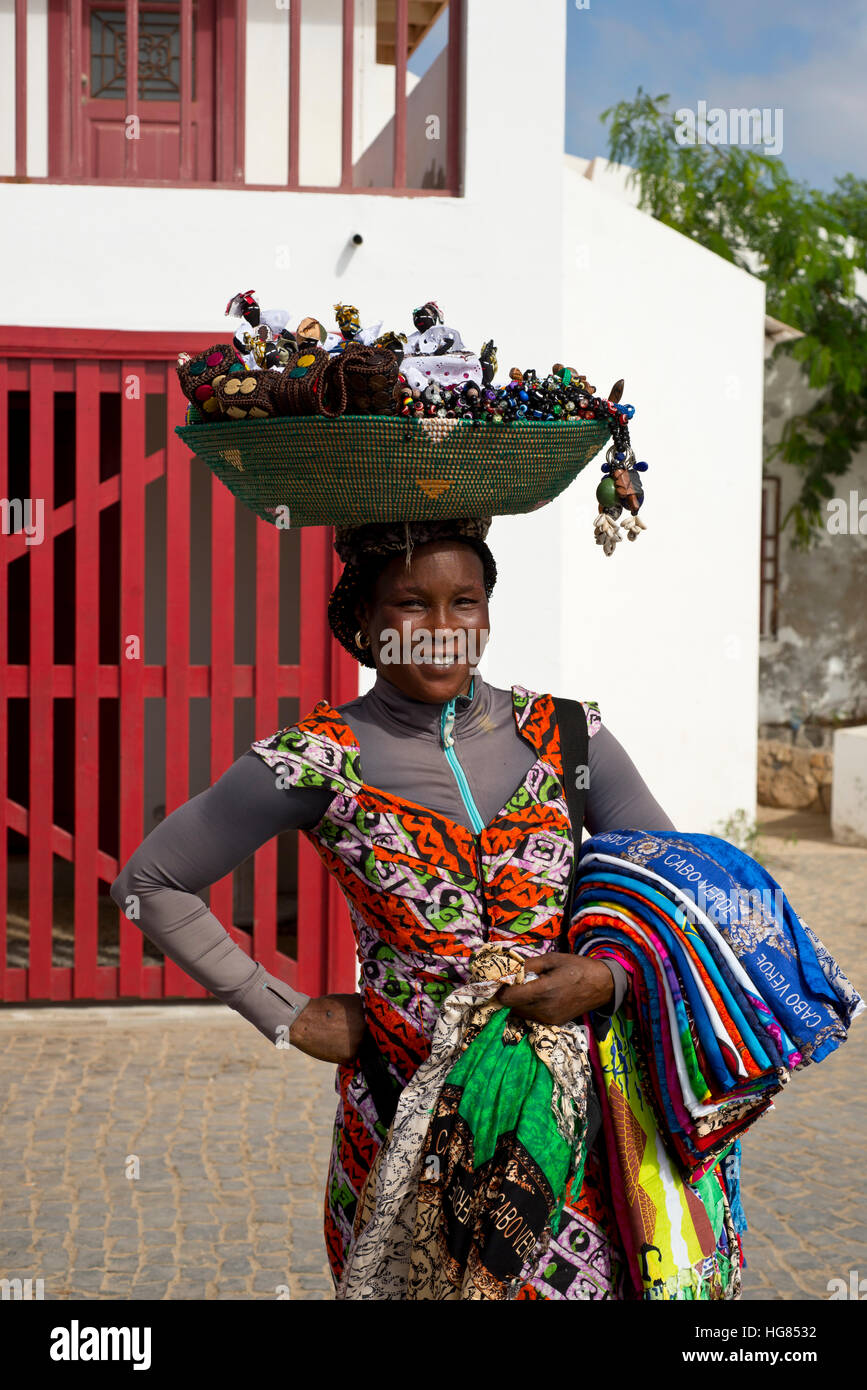Cape Verde woman in traditional clothe - Stock Image