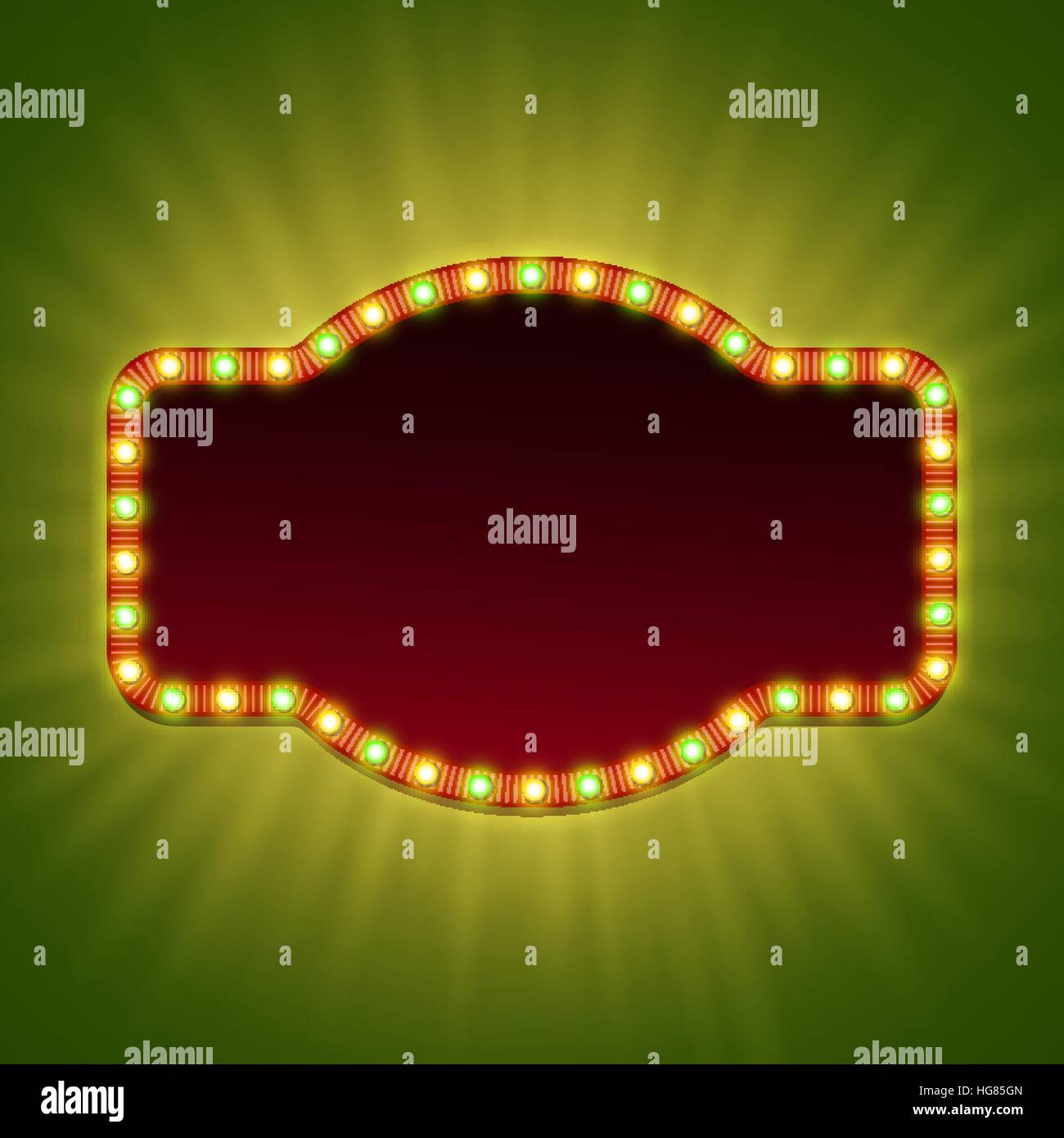 Blank 3d retro light banner with shining bulbs. Red sign with yellow and green lights and blank space for your text. - Stock Vector