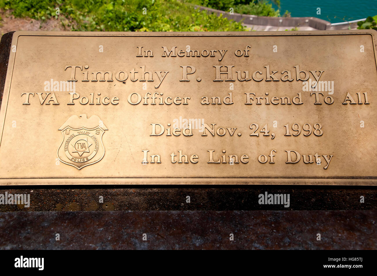 Gatlinburg is a mountain resort city in Sevier County, Tennessee, United States. Memorial to a heroic policeman - Stock Image