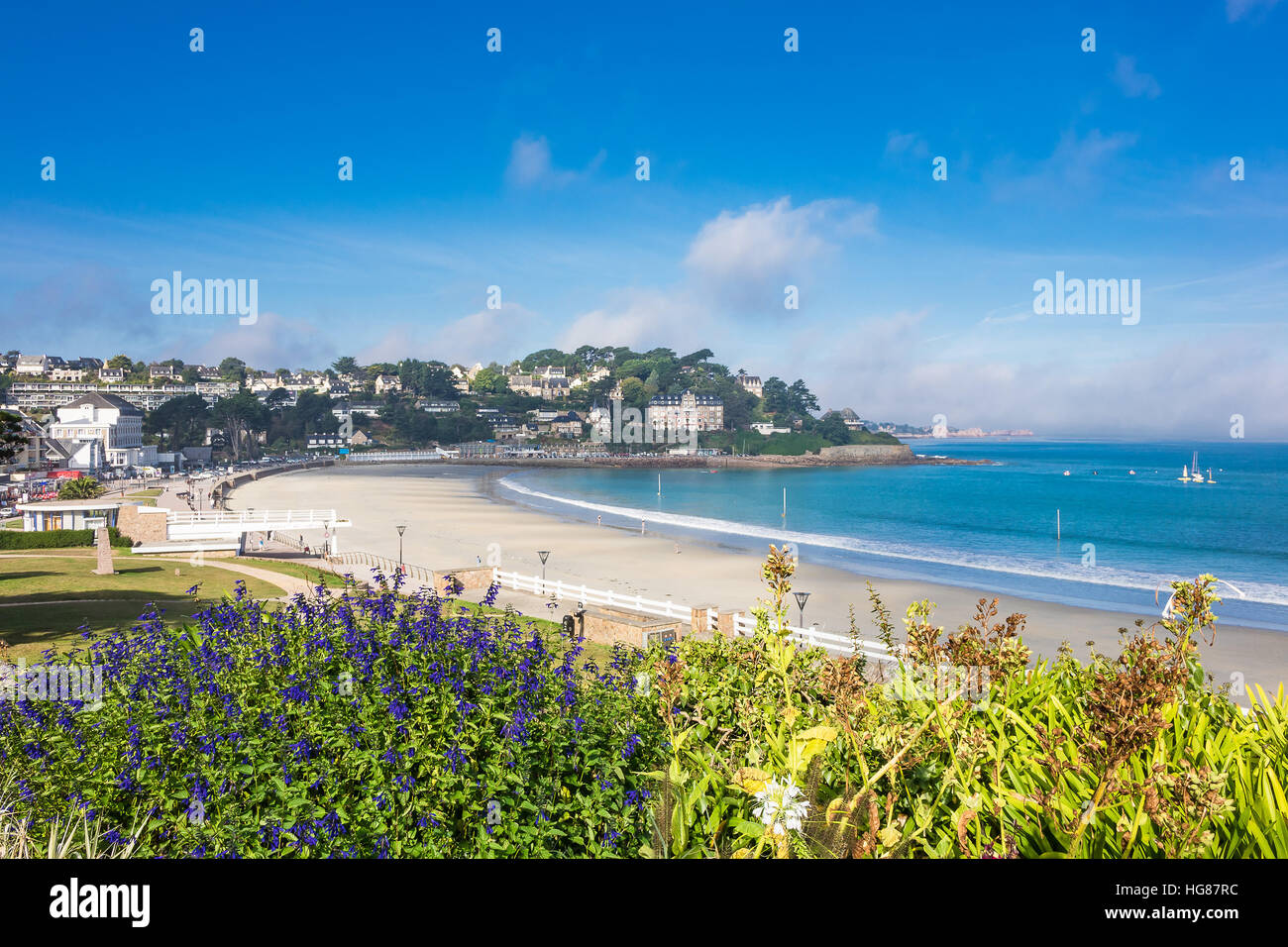 View to the city Perros-Guirec in Brittany, France - Stock Image