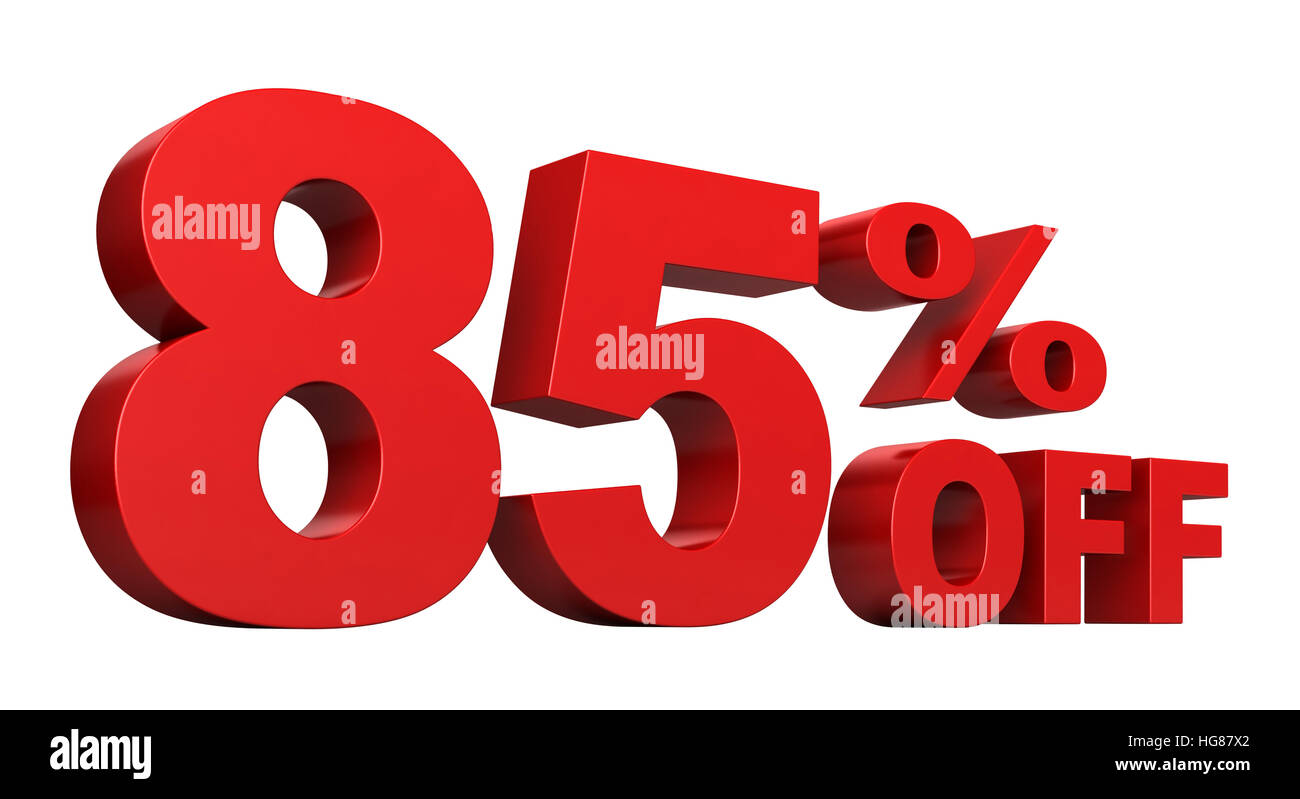 3d render of 85 percent off sale text isolated over white background - Stock Image