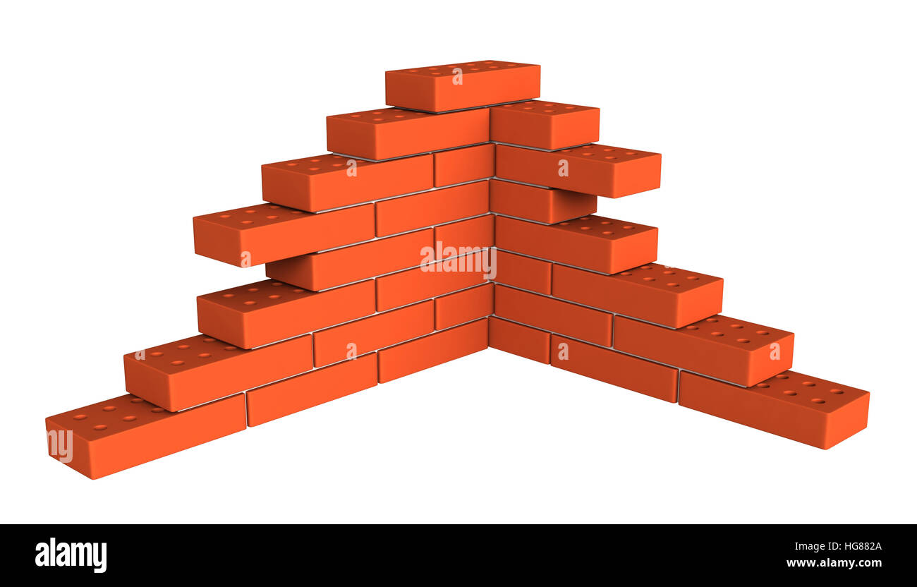 3d render of bricks masonry isolated over white background - Stock Image
