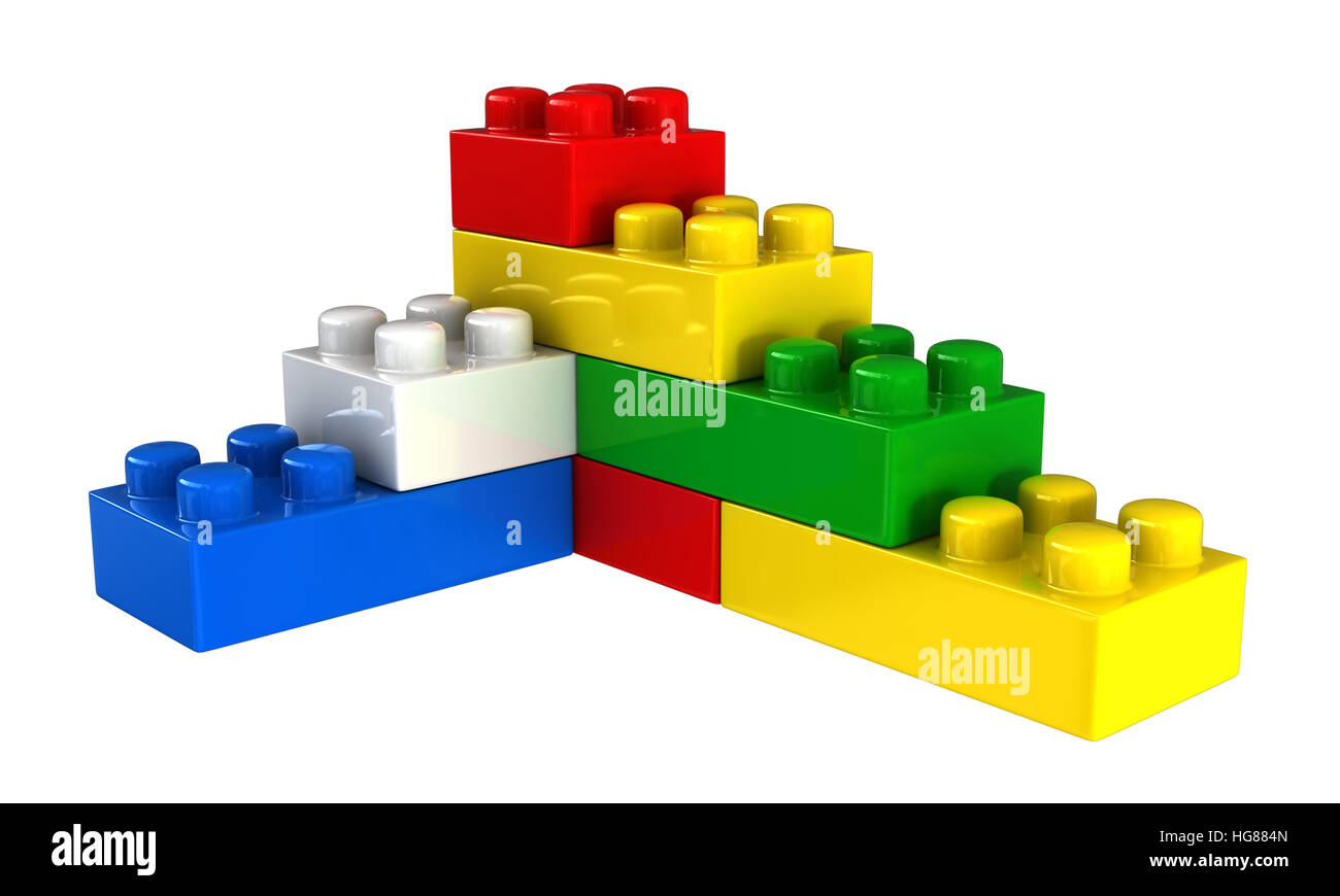 3d render of plastic building blocks isolated over white background - Stock Image