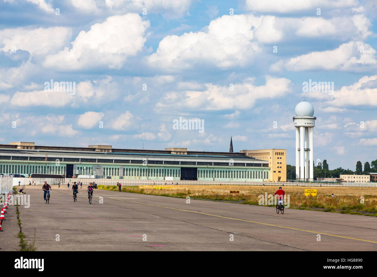 Berlin Tempelhof, former airport in Berlin city, Germany. Since 2008 used as a recreational space known as Tempelhofer - Stock Image