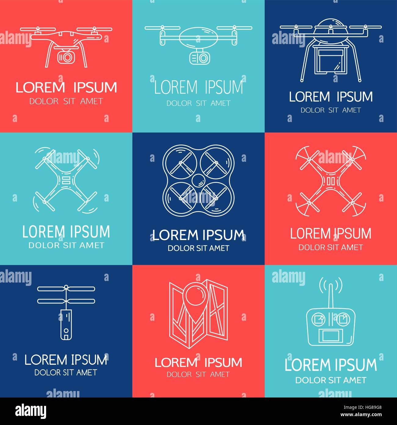 Modern thin line set with drones. Collection of logotypes with quadrocopter, hexacopter, multicopter made in line - Stock Image