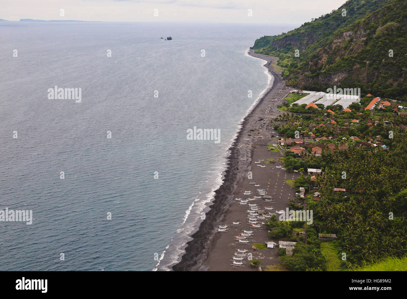High angel view of shore against mountain - Stock Image