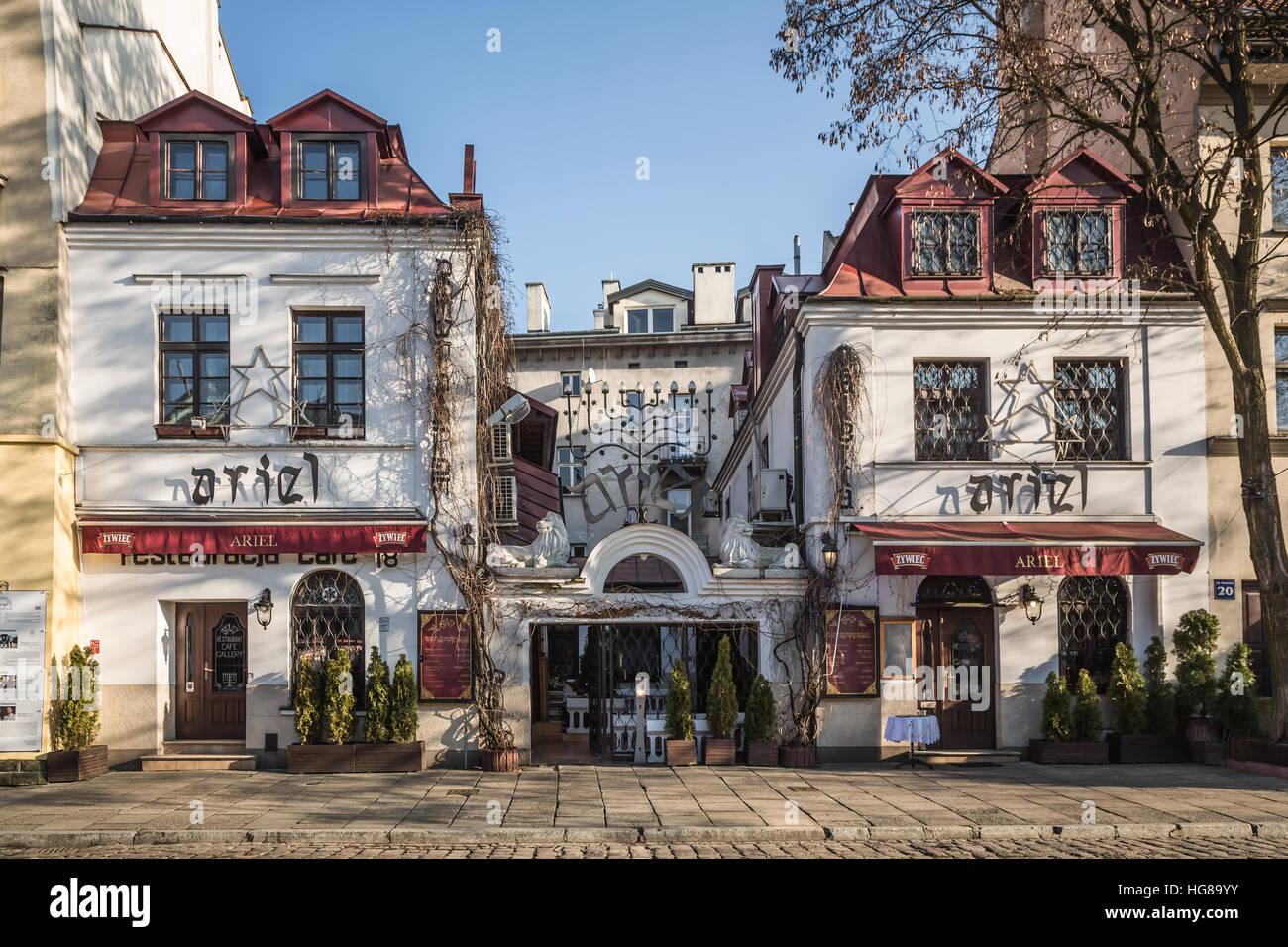 Poland, Krakow, Ariel restaurant at Kazimierz district - Stock Image