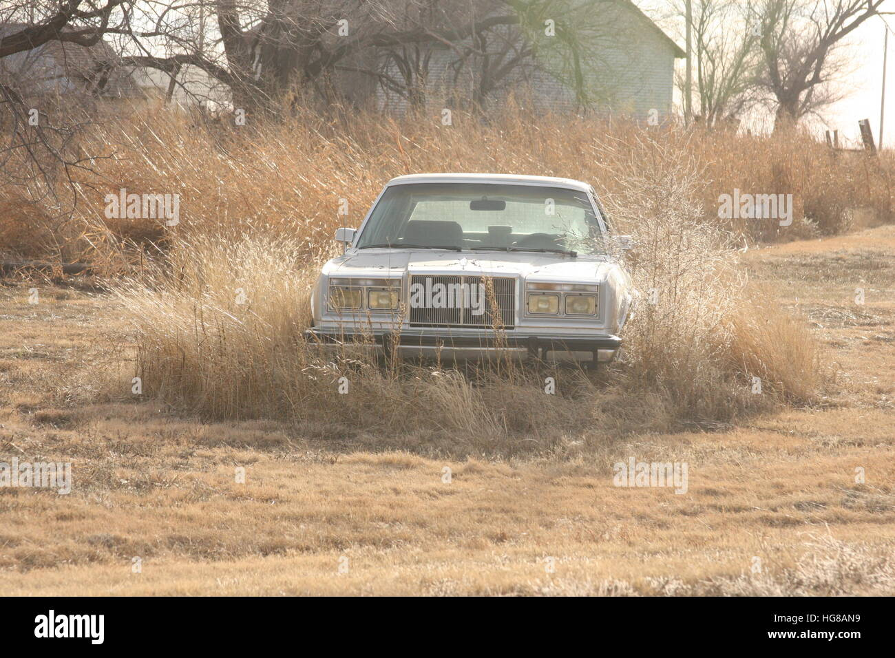 Abandoned vehicle in yard - Stock Image
