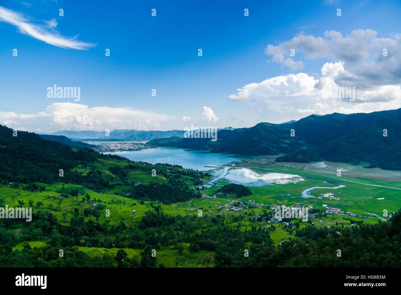 Phewa Lake, Pokhara and agricultural landscape, Pame, Kaski District, Nepal - Stock Image