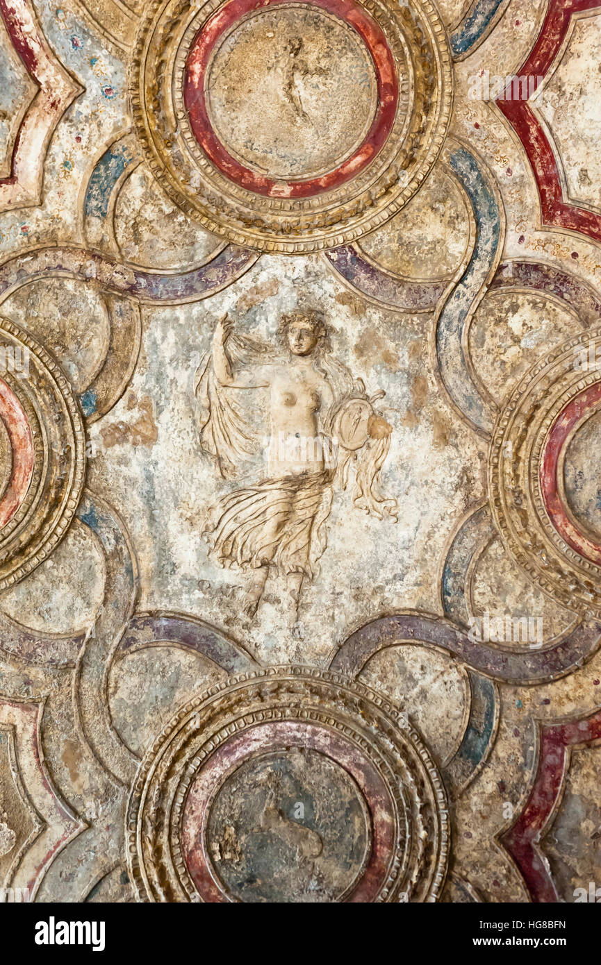 Stucco ceiling with Venus, Stabian spas, ancient city of Pompeii, Gulf of Naples, Campania, Italy - Stock Image