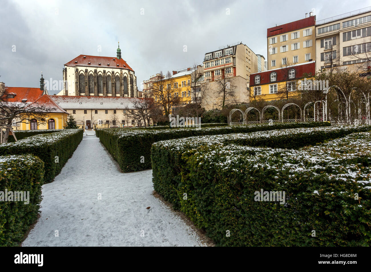 Prague Franciscan Garden near Wenceslas Square in the background Church of Our Lady of the Snows, Prague, Czech - Stock Image