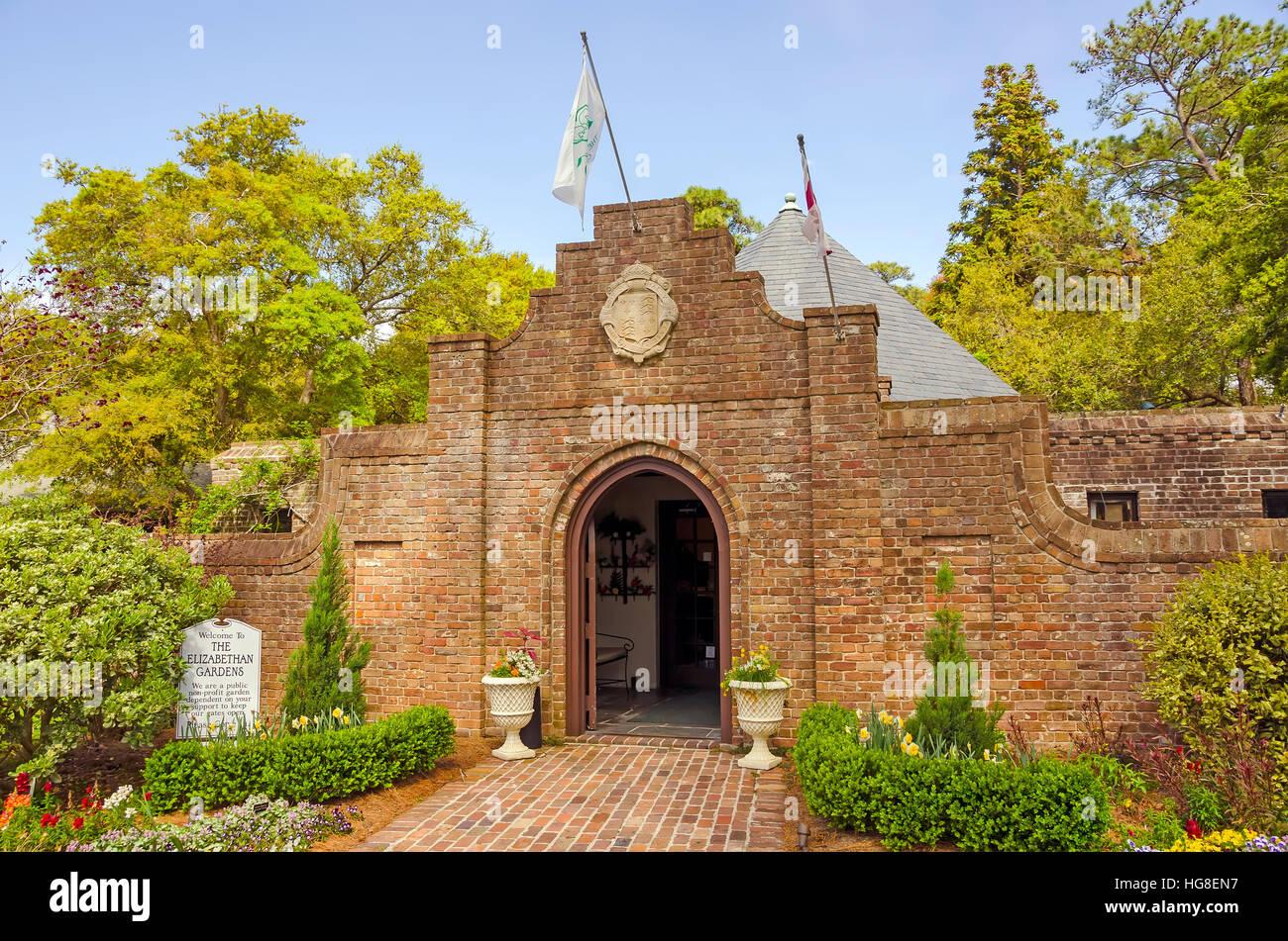 Entrance at Elizabethan Gardens, Manteo, Roanoke Island, North Carolina - Stock Image