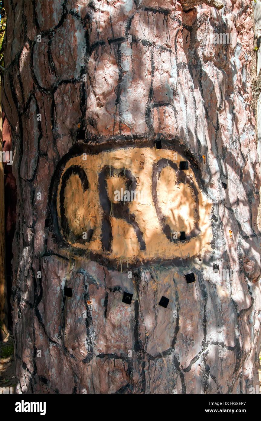 'Cro' Symbol cut into tree by Lost Colony at  Roanoke Island North Carolina - Stock Image