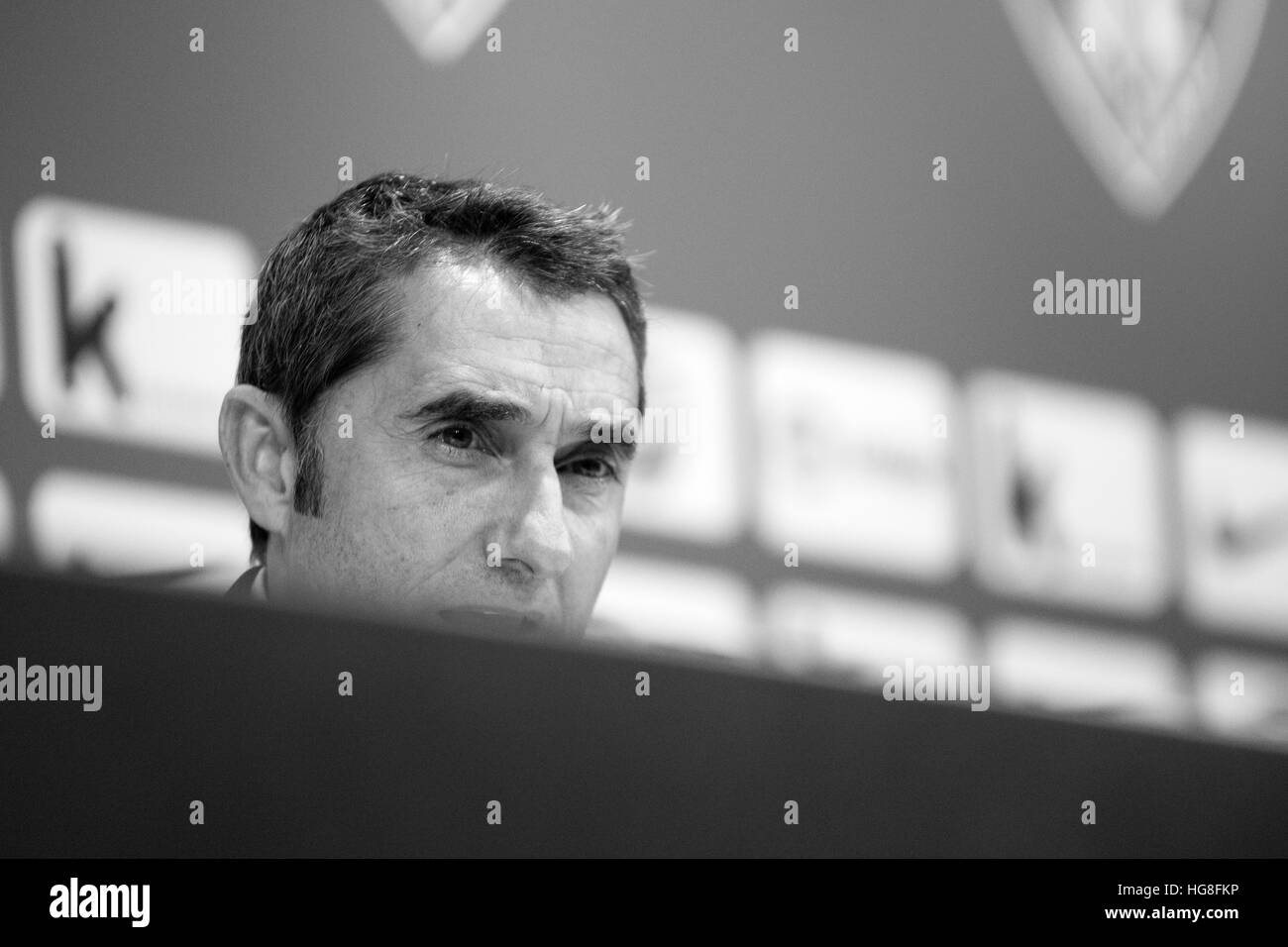 Bilbao, Spain. 5th January, 2017. Ernesto Valverde (Coach, Athletic Club) during the press conference of football - Stock Image
