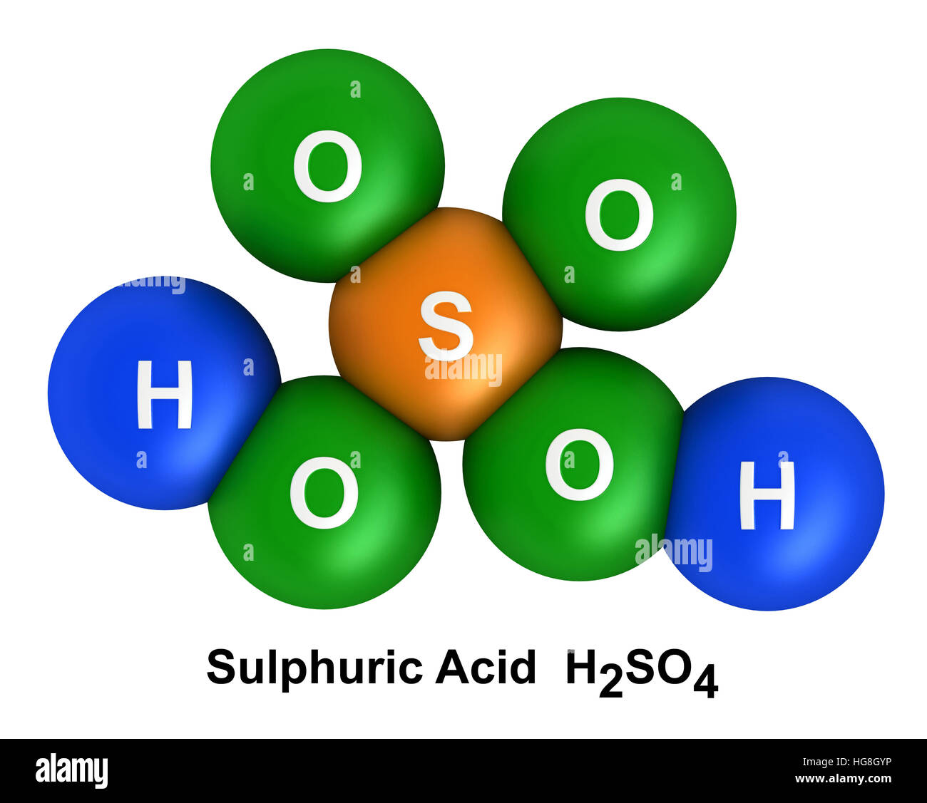 3d render of molecular structure of sulfuric acid isolated over white background - Stock Image