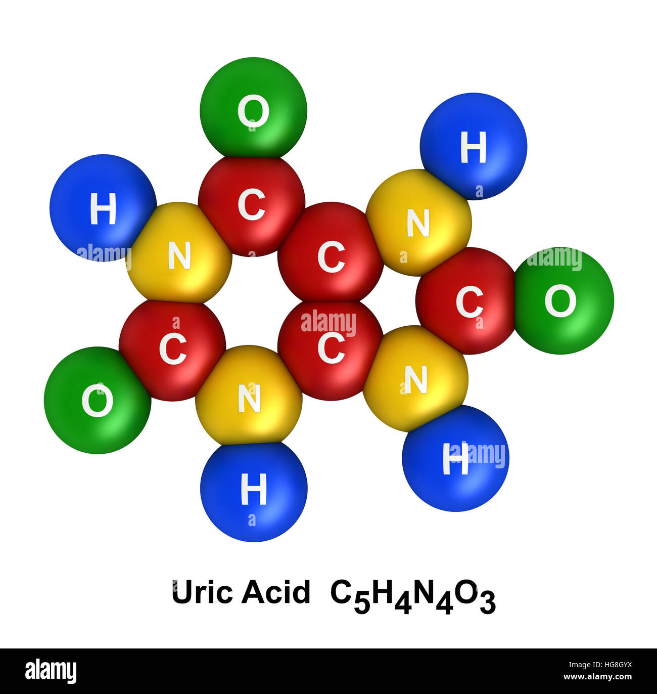 3d render of molecular structure of uric acid isolated over white background - Stock Image