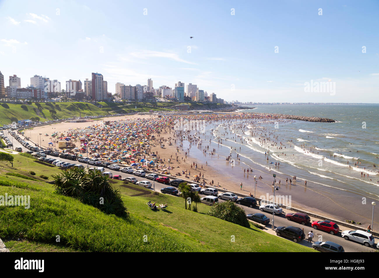 Wide view of the beach, at Mar del Plata city - Stock Image