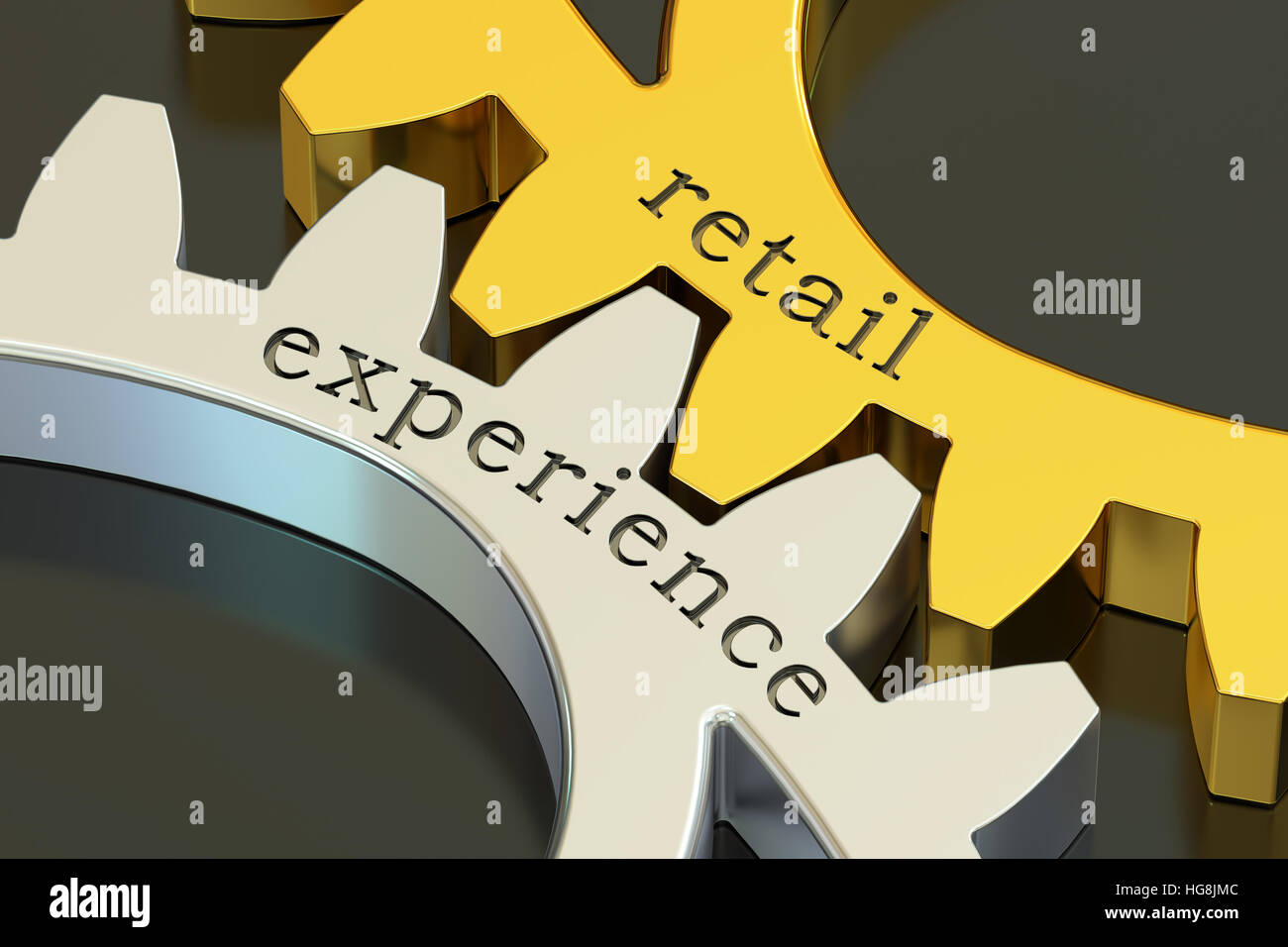 retail experience concept on the gearwheels, 3D rendering - Stock Image