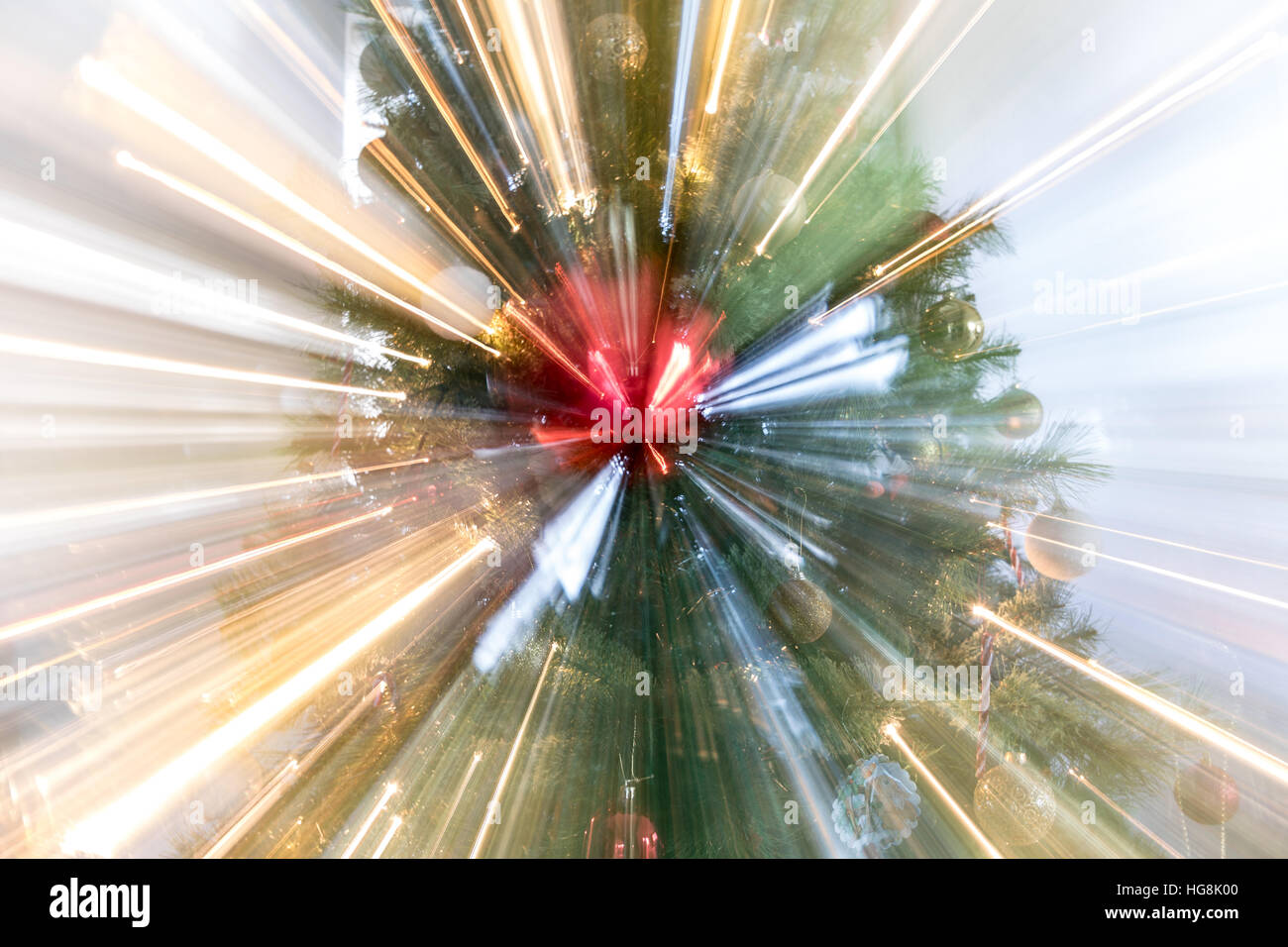 Festive Christmas star burst with lights and decorations - Stock Image