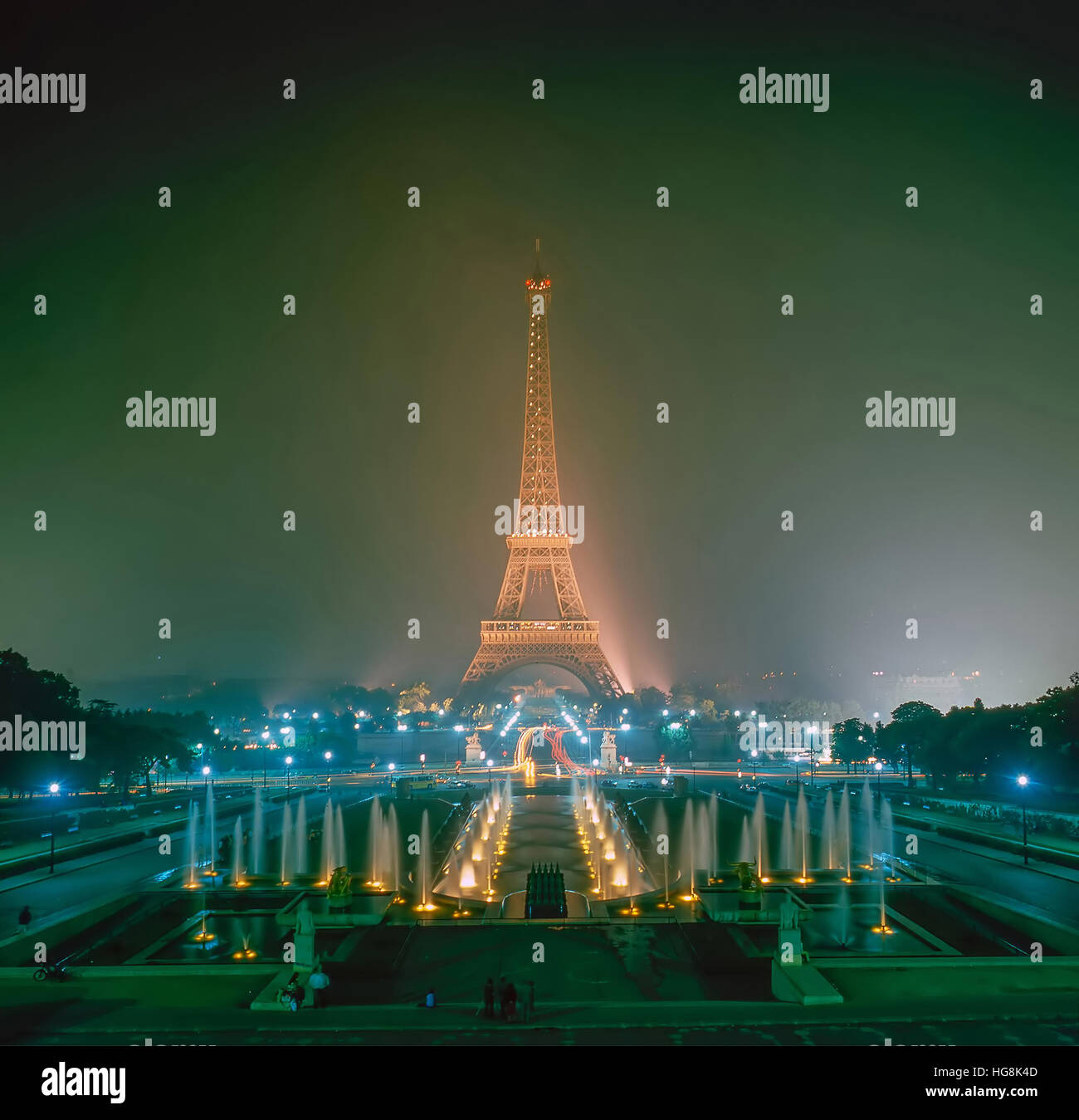 Eiffel Tower at night in Paris, France - Stock Image