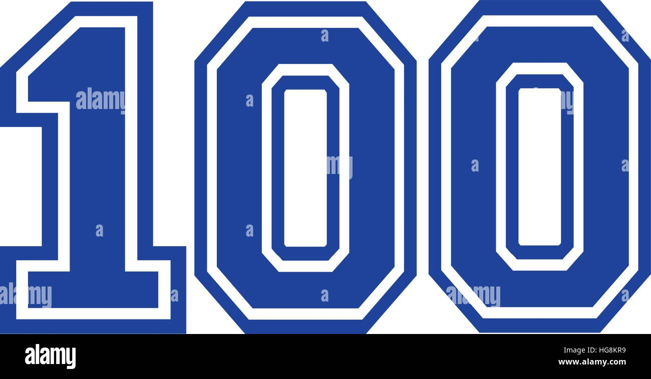Hundred college number 100 - Stock Vector