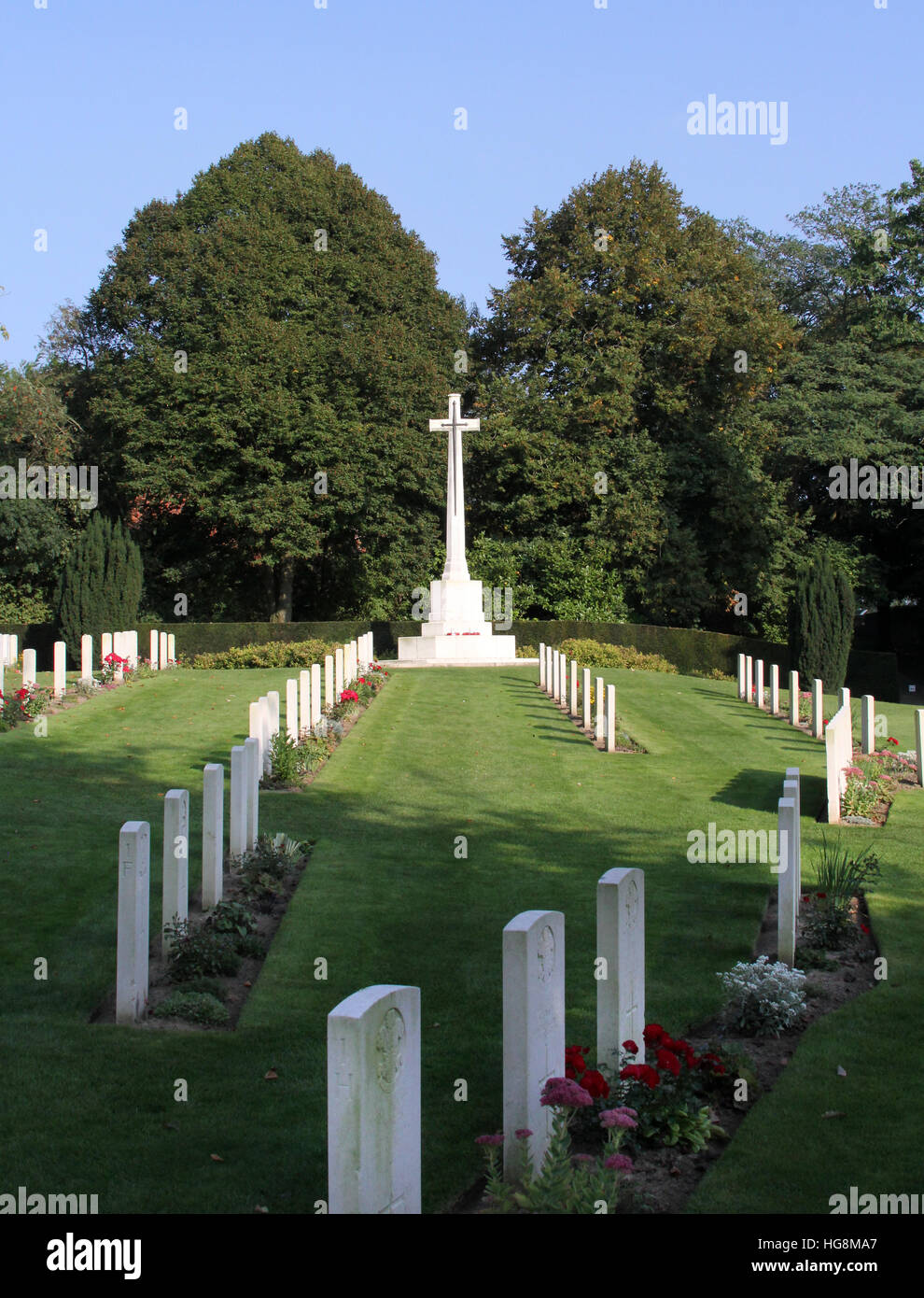 The Ramparts Cemetery in Ypres, Ieper, Belgium holds is the burial ground for 198 soldiers who died in the First Stock Photo