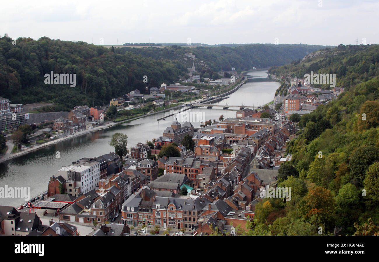 The city of Dinant in Belgium hugs both sides of the Meuse River. It's also the birthplace of Adolphe Sax. Stock Photo
