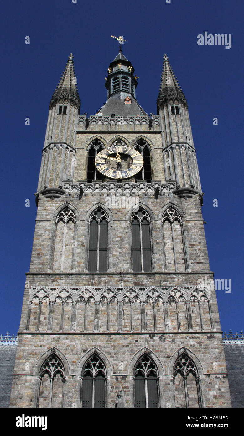 Clock tower in the Cloth Hall Ypres, Ieper, a reconstruction of the original building destroyed in World War I Stock Photo
