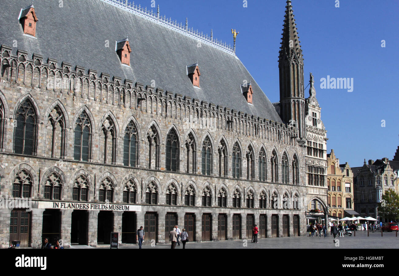 The Cloth Hall (Lakenhalle in Flemish) in the center of Ypres (Ieper). It now houses the In Flanders Field Museum. Stock Photo