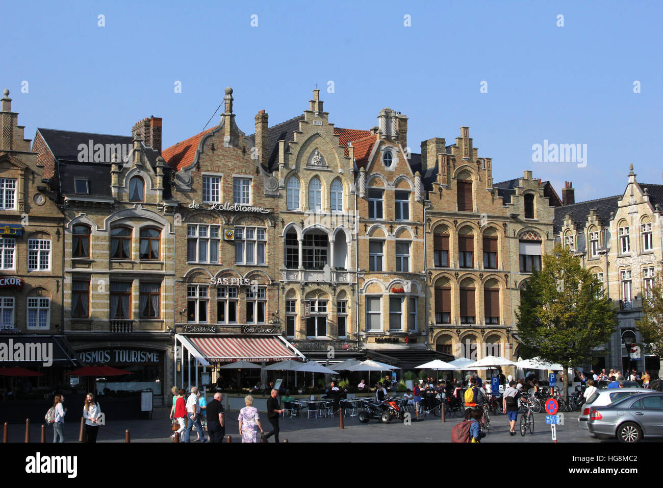 The Market Place (Grote Markt), in Ypres, Ieper, Belgium. It was totally rebuilt after its destruction in World Stock Photo