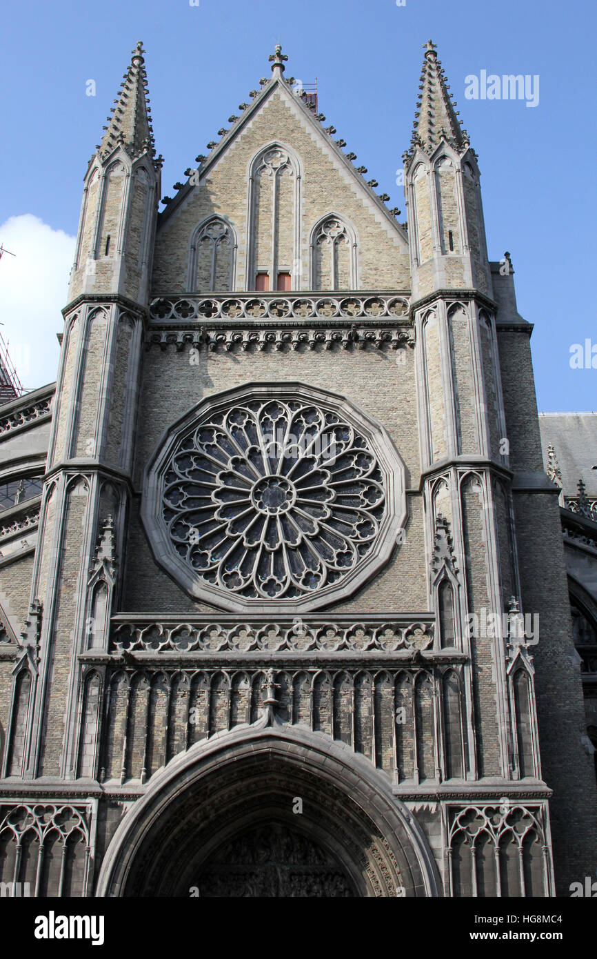 Entrance to Saint Martin's Cathedral in Ypres Belgium. Destroyed in World War I it was entirely rebuilt from original Stock Photo