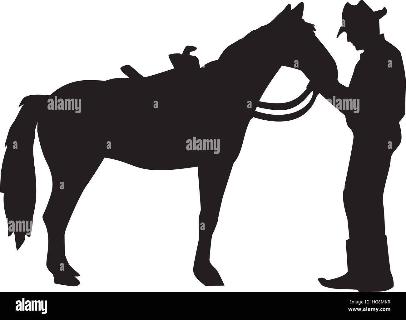 Cowboy Talking To His Horse Silhouette Stock Vector Image Art Alamy