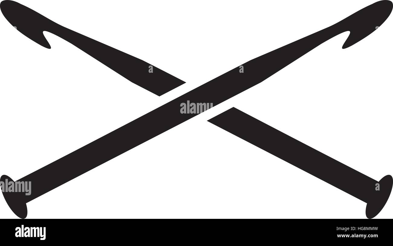 Crossed crochet needles - Stock Vector