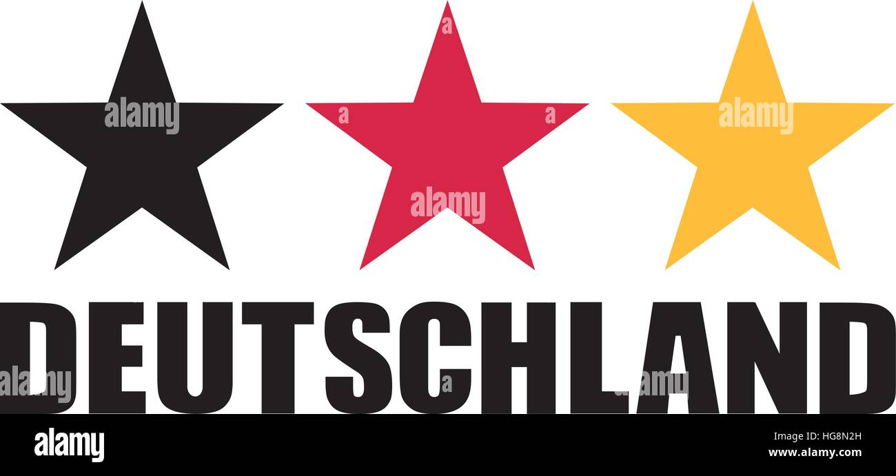 Germany flag stars with Deutschland - Stock Vector