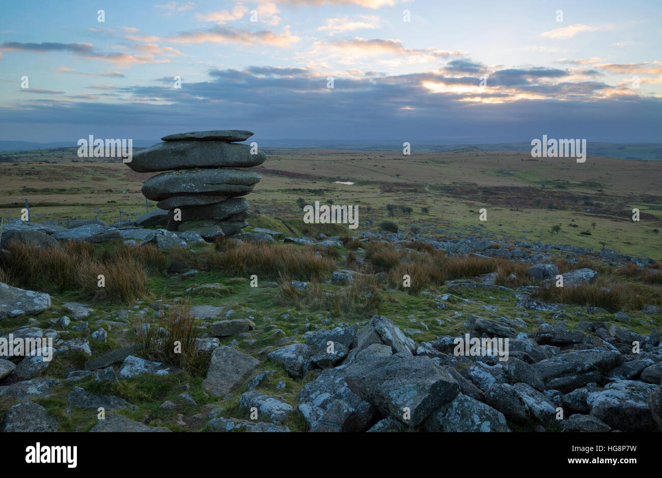 Sunset over the famous Cheesewring on Bodmin Moor - Stock Image