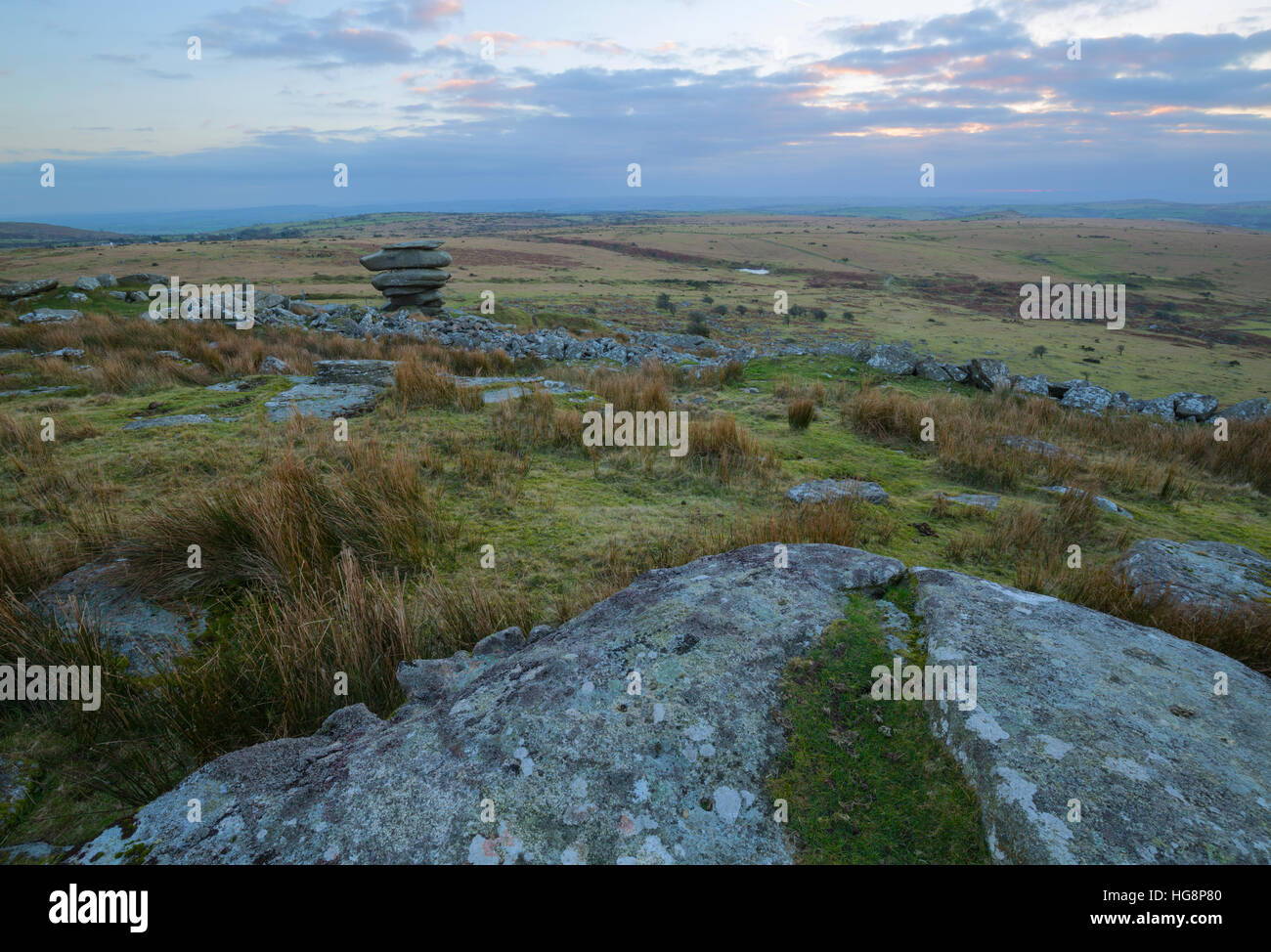 The view towards the famous Cheesewring on Stowes Hill, Bodmin Moor - Stock Image