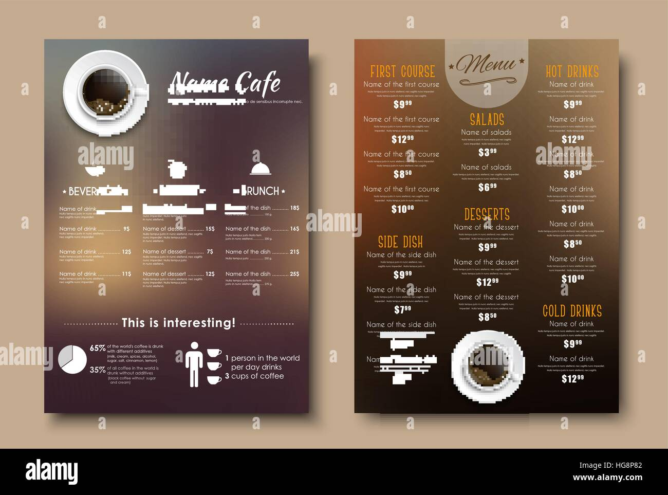 design menus for a restaurant cafe or coffeehouse a4 template