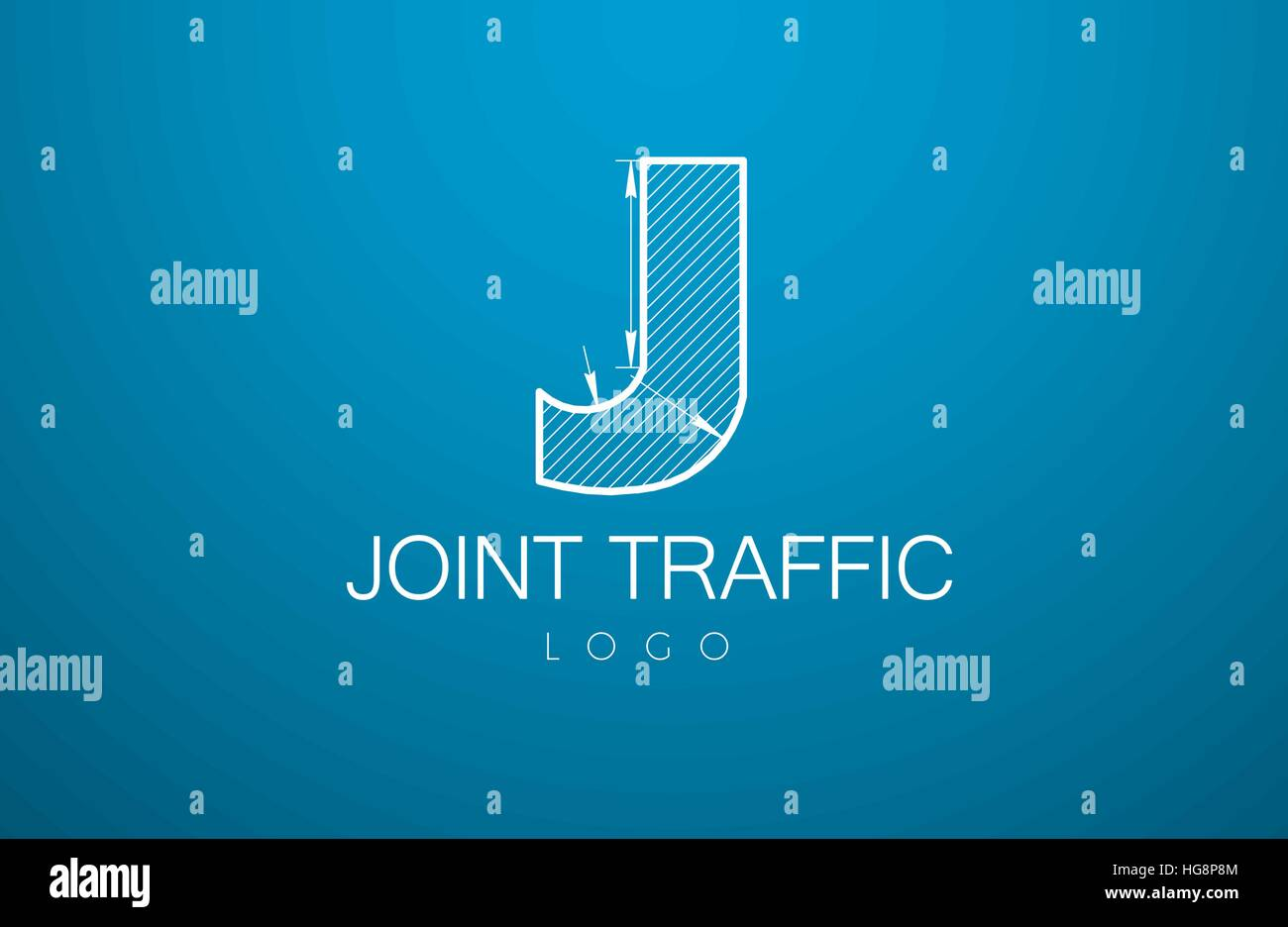 logo template letter j in the style of a technical drawing sign design and the text joint traffic with dimension lines vector illustration