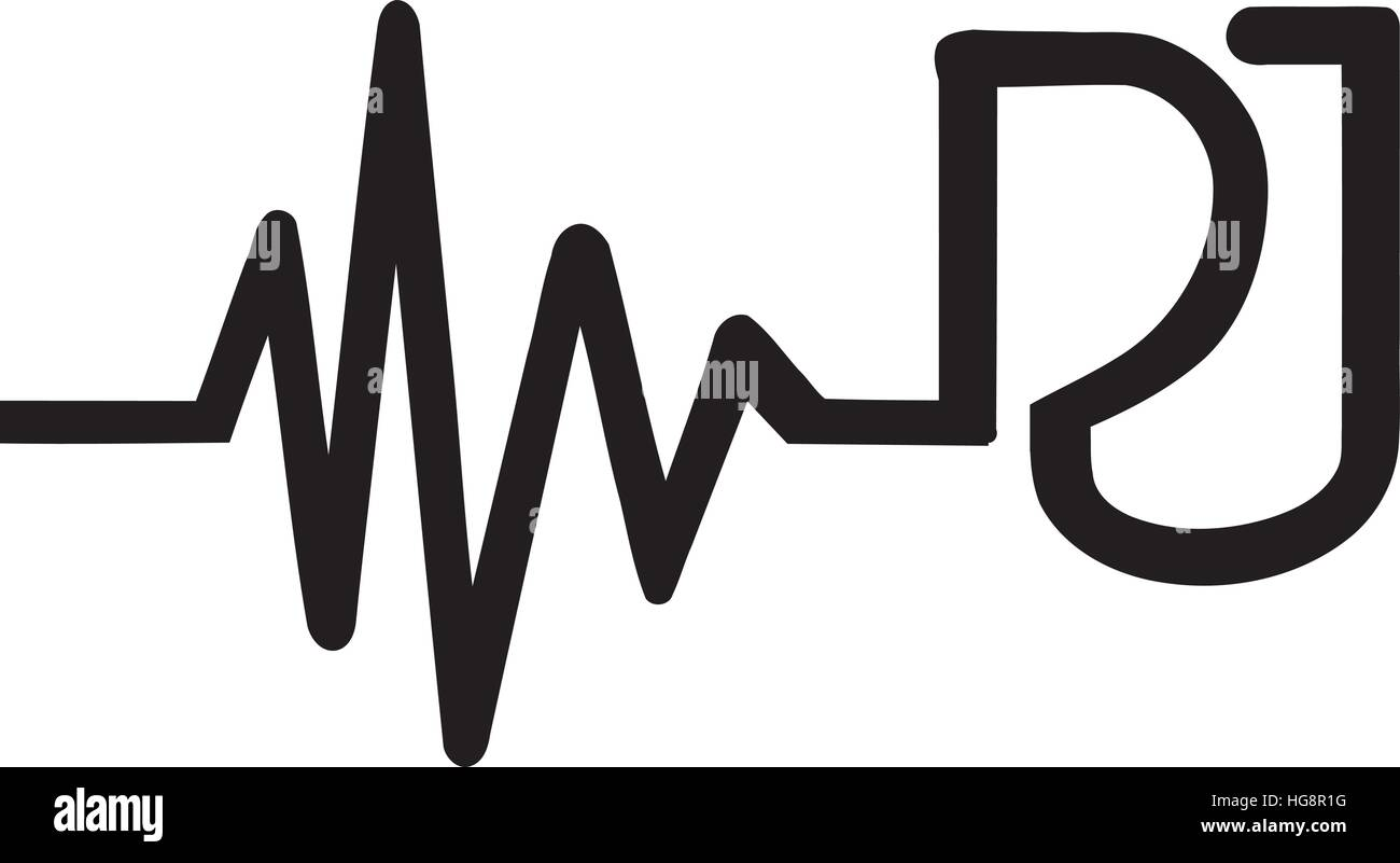 Heartbeat Line Art : Heartbeat line dj letters stock vector images alamy