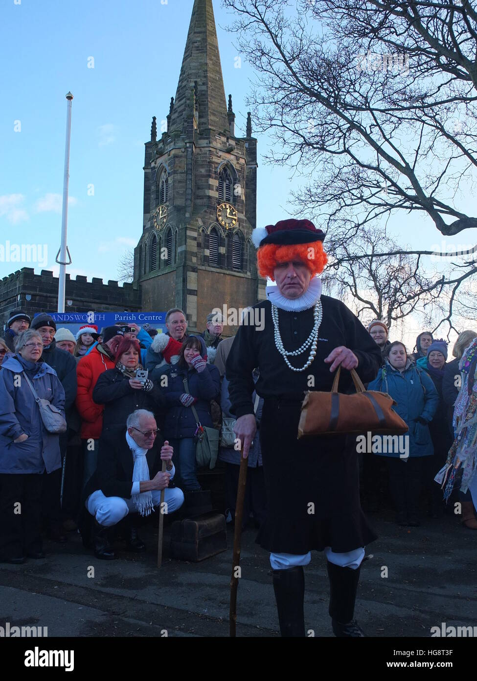 Members of Handsworth Sword Dancers perform a Robin Hood Mummer's Play on Boxing Day outside St Mary's, Handsworth, Stock Photo